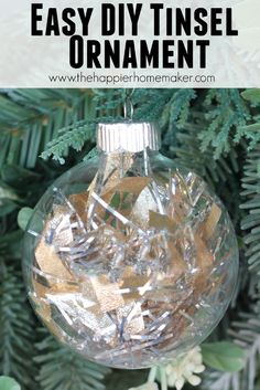 easy DIY tinsel ornament and over 140 other DIY ornament ideas!