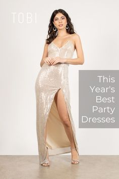 Star Of The Night Sequined Slit Maxi Dress Cute Dresses For Party, Sexy Party Dress, Women's Fashion Dresses, Casual Dresses, Sequin Dress, Bodycon Dress, Formal Cocktail Dress, Holiday Party Outfit, Night Out Outfit