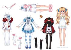 Dress Up Paper doll In# Anime Style - by == A really beautiful dress up paper doll of Alice, in a cute Anime style, by Thai designer Loveewa, via DeviantArt website. Alice In Wonderland Doll, Paper Art, Paper Crafts, Paper Dolls Printable, Vintage Paper Dolls, Paper Models, Doll Crafts, Paper Toys, Anime Style