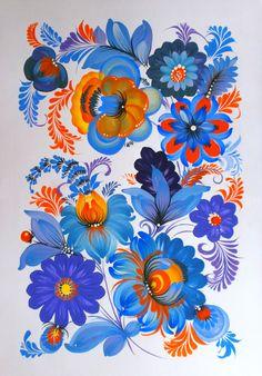 Моя работа, формат А-4, темпера, петриковская роспись