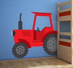 A lovely red design from our collection of tractor wall stickers to decorate any space at home! Perfect for your children's room.