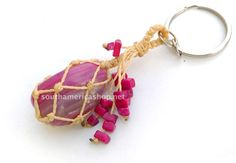 Fuchsia/Rose agate stone keychain made with by MiraquelAccessories