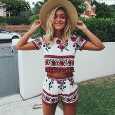 9679230628e3 Simplee Elegant jumpsuit romper two-piece suit Boho chic flower playsuit  women Summer style overall Casual beach leotard - Red Boho Print   M