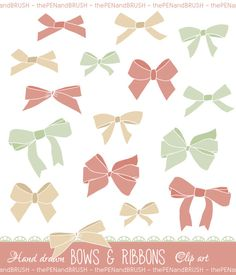 Bows Clip Art Pack // Unique Hand drawn Bows // by thePENandBRUSH, $5.00