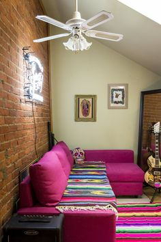 Beth-Anne & Arron's Social Style pink sectional with mexican texiles