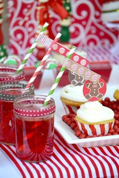 Drinks at a gingerbread party!  See more party ideas at CatchMyParty.com!  #partyideas #gingerbread