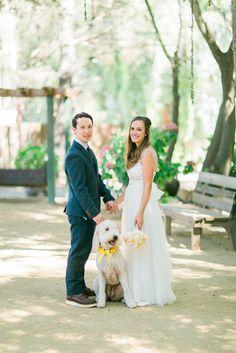 Floral dog collar -wedding - bride and groom - PC: Cole Garrett Photography - Planning: DB Creativity - Calamigos Ranch - Pavilion