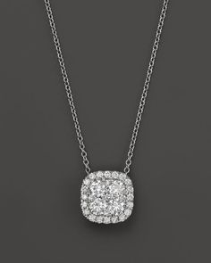Diamond Cluster Pendant Necklace in 14K White Gold, 2.0 ct. t.w.
