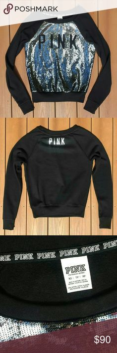 NWOT   RARE! VS PINK Bling Sweatshirt Brand new!! Never worn, never washed Perfect condition Has just been hanging in my closet The front is covered in silver sequins Size XS  Feel free to make an offer!! PINK Victoria's Secret Tops Sweatshirts & Hoodies