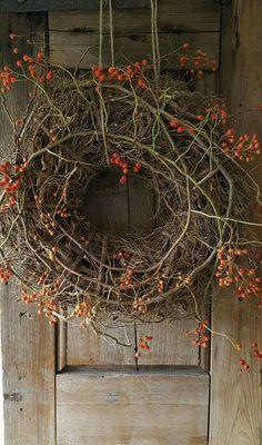 N o v e m b e r ❤️ 9 Country Wreaths, Fall Wreaths, Door Wreaths, Grapevine Wreath, Rustic Wreaths, Primitive Autumn, Primitive Christmas, Primitive Pumpkin, Cowboy Christmas
