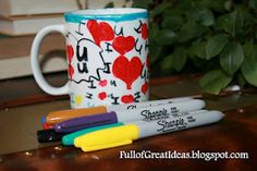 How to make permanent design on $store mug with sharpies1.Wash and dry the plate and mug  2. Draw on plate and mug with permanent markers  3.Write on bottom 'Hand Wash Only'  4.Place items in cold oven  5.Turn oven on to bake at 350 degrees  6.Bake for 30 minutes (after it reaches 350 degrees)  7.Turn oven off and let items cool in oven!