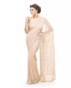 Champagne Saree Matt  A silk Georgette champagne coloured saree with Matt Silver and cutdana beading along the border and scatters of beading all over the saree.  #Ootd #Potd #Qotd #Fashion #Shopping #WomenWear #IndianWear #Style #Blogger #Mumbai #Wedding #OutfitOfTheDay #Fashion #Anarkali #Traditional #Shopping #WomenWear #DesignerWear #Designer #FashionDesigner #IndianDesigner