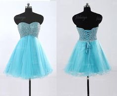 blue prom dress short prom dress sweetheart prom by fitdesign, $109.00