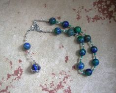 Gaia (Gaea) Pocket Prayer Beads in Azurite-Malachite: Mother Earth, Mother of the Gods, Mother of All That Is. by HearthfireHandworks on Etsy