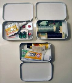Small tins filled with various things for sewing emergencies, personal hygiene, first aid and even fishing!
