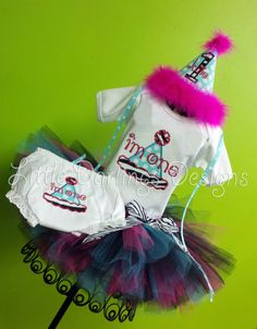 I'm One - Girl's First Birthday Tutu, Onesie, Bloomers and Birthday Hat Set
