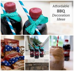 Affordable BBQ Decoration Ideas with Dr. pepper and ribbon straw diy Birthday Party At Home, Birthday Celebration, Bbq Party, Party Drinks, Inexpensive Birthday Party Ideas, Bbq Decorations, Diy Straw, Party Favors For Adults, Party Banners