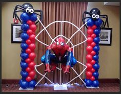 Balloon decor and party rentals for all your special events located in New York City. Balloon arches, installations, centerpieces and columns are our specialty at Paola's Party Land. Spiderman Balloon, Superhero Balloons, Spiderman Theme, Avengers Birthday, Superhero Birthday Party, Man Birthday, Balloon Columns, Balloon Arch, Balloon Display