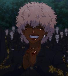 Tokyo revengers Black Cartoon Characters, Black Girl Cartoon, Cartoon Art, Black Love Art, Black Girl Art, Anime People, Anime Guys, Anime Manga, Anime Art