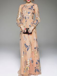 AllHer Apricot Gauze Flowers Embroidered Maxi Dress