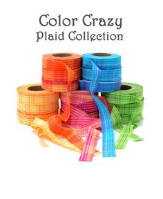 """Color Crazy Plaid Fabric Strips 3/4""""   Locker hook in Plaid"""