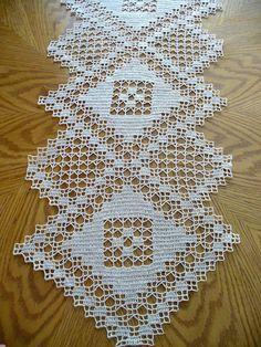 Handmade Natural Crochet Table Runner: Major Triad