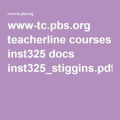 www-tc.pbs.org teacherline courses inst325 docs inst325_stiggins.pdf
