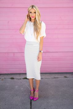 White and gray stripes with a pop of color