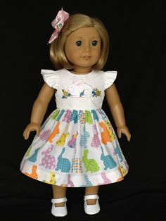 18 inch doll dress and hair clip.  Fits American by ASewSewShop