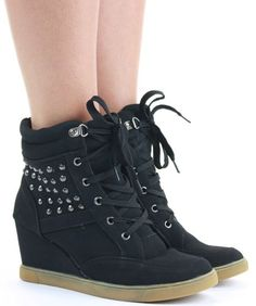 Ladies Hi Tops Trainer High Heel Wedge Wedges Lace Up Platform Sneaker Ankle Boots Shoes Size with shoeFashionista Boutique Bag: Amazon.co.uk: Shoes & Accessories