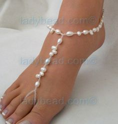 I saw this @melissaeslava, & thought of you.  Perhaps it would provide some inspiration?    Freshwater Pearl Bare foot Jewelry Beach Bride TL163