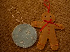 Gingerbread man and snowflake
