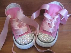 PINK BLING CONVERSE High Tops Size by PrincessSneakers on Etsy, $69.95