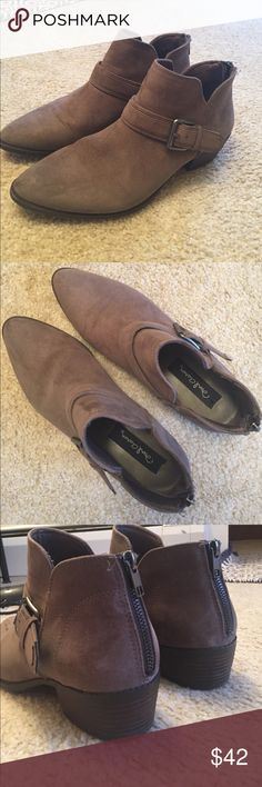David Aaron Austin Brown Booties Brown/Dark tan color. Sprayed with suede waterproof protectant. Worn once. Shoe runs on the narrow side. No flaws. Very cute! David Aaron Austin Shoes Ankle Boots & Booties