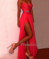 Red long bridesmaid dress, prom dress with sequins
