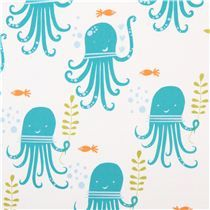 white monaluna sea animal organic fabric octopus party - Animal Fabric - Fabric