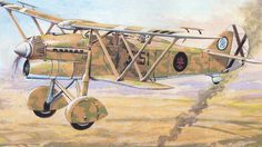 """An Italian Fiat CR 32 """" Chirri """" biplane fighter, serving with the Spanish Nationalist Air Force during the Spanish Civil War."""