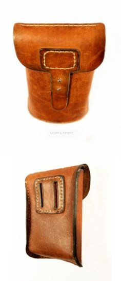 Simple belt loop - Leather Pouch Bag by Leon Litinsky Leather Belt Pouch, Small Leather Bag, Leather Art, Sewing Leather, Leather Pattern, Leather Pieces, Small Leather Goods, Canvas Leather, Leather Satchel