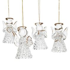 4 Pack Glass Angel Tree Decorations | Poundland
