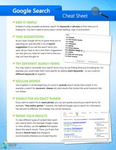 Google Search Cheat Sheet