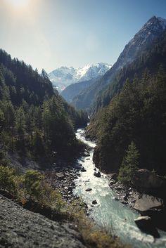 Nepal by Kelsey Austin: river thorugh mountains + forest | nature landscape travel wanderlust