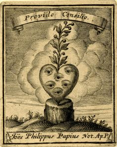 Emblem of Johannes Philippus Papius; a heart with six eyes on a tree stump in a landscape, a branch growing from the heart, banderol with motto above  Engraving