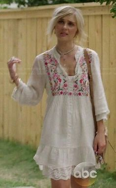 Scarlett's white floral embroidered peasant dress by Vintage Scarlett O Connor, Carl Friedrich, Dress Skirt, Dress Up, Boho Fashion, Fashion Dresses, Girls Dresses, Summer Dresses, Baby Dresses