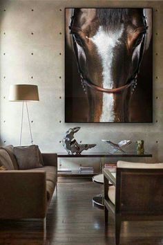 Huge horse art, warm brown and grey palette, modern accent decor, industrial concrete wall Western Style, Western Decor, Equestrian Decor, Western Homes, Horse Photography, Horse Art, Living Room Decor, Horses, Wall Art