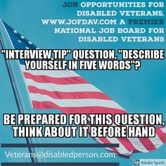 "Words To Describe Yourself On Resume Job Opportunities For Disabled Veterans Www.jofdav ""resume Tip ."