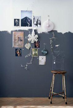 half painted wall, parede pintade pela metade, parede preta e branco com fotos e objetos na parede