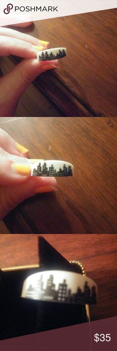 NYC skyline ring Very cool white plastic adjustable ring  Approx size 6 but fits a 7 easy  :-)  my nails are a mess unknown Jewelry Rings
