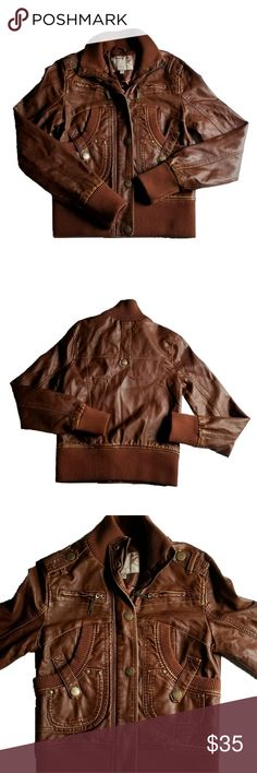 Daytrip Brown Faux Leather Jacket Daytrip Brown Faux leather jacket. Purchased at Buckle.  Has lots of pockets! Excellent used condition. Daytrip Jackets & Coats