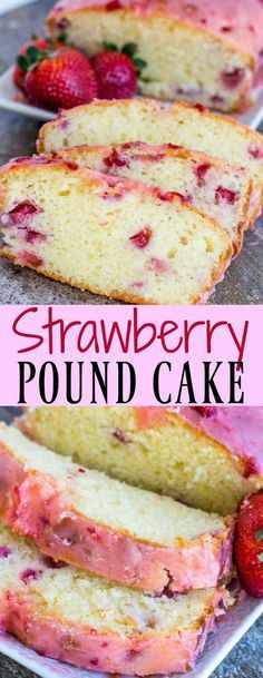 Strawberry Pound Cake is deliciously moist and flavorful; a one bowl treat topped with a sweet strawberry glaze. Strawberry Pound Cake is deliciously moist and flavorful; a one bowl treat topped with a sweet strawberry glaze. Brownie Desserts, Mini Desserts, Pudding Desserts, Just Desserts, Summer Desserts, Sweet Desserts, Plated Desserts, Pound Cake With Strawberries, Strawberry Desserts