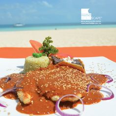 "Si no lo ha probado, se va a sorprender con nuestro delicioso mole ""Manchamanteles"".  If you haven't tried it yet, you are going to be surprised with our mole ""Tableclothstainer"".  Beachscape Kin Ha (Cancún)."